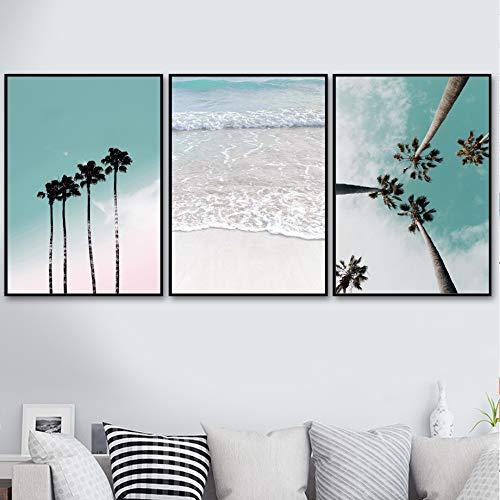 XWArtpic Coconut Palm Tree Pink Beach Mare Ombrello Wall Art Tela Pittura Nordic Poster E Stampe Immagini A Parete per Soggiorno Decor G 40 * 50 cm * 3 pz
