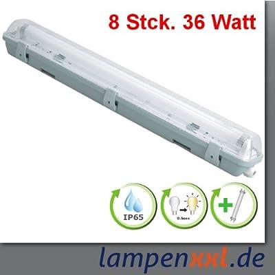8x Feuchtraumleuchte IP65 Leuchtstoff Wannenleuchte 1x36W incl. Leuchtm. von LampenXXL - Lampenhans.de