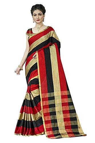 Jaanvi Fashion Women's Cotton Silk Saree (Red)