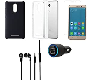 Tempered Glass Screen Guard Car Charger Headphone Cover Back Cover combo for Redmi Note 3