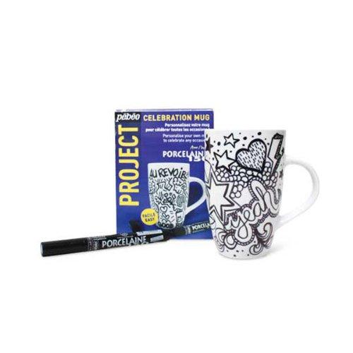 Pebeo Celebration Mug Porzellanmalset mit Tasse, Weiß