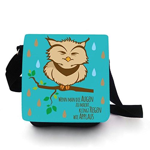 Eulentasche Tasche Kindertasche Handtasche mit Eule Pietri beige Regen Applaus kt91 - Türkis Türkis