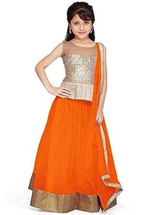 Pakiza Design Girls Net Partywear Lehenga Choli (KL01_orange_Orange_28 inches)
