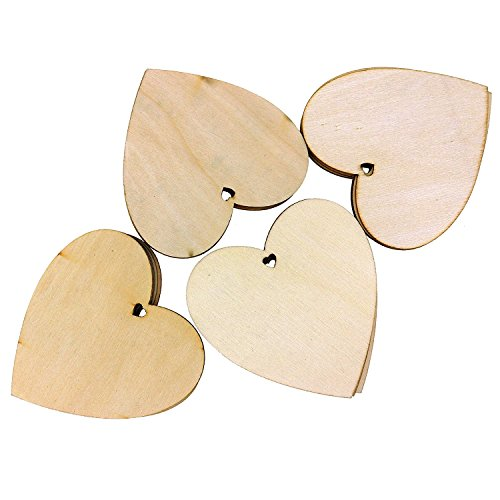 Kurtzy 25 Decorative Wooden Heart Shape by 10 x 10cm Craft Tags Plaques Suitable for Wedding Reception, Centerpieces, Decorations - Natural Unfinished Wood Heart Shaped Cutout