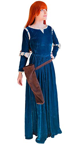 I TRUE ME Brave Princess Merida Dress and Wigs Cosplay Costume Dress Gown Outfit,Darkblue,M (Merida Brave Kostüm)