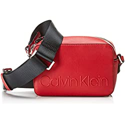 Calvin Klein - Edged Camera Bag, Bolsos bandolera Mujer, Rojo (LIPSTICK RED), 7x12x18 cm (B x H T)