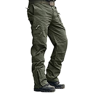 41aajcc89fL. SS300  - MAGCOMSEN Mens Cargo Work Trousers Cotton Pants Outdoor Camping Hiking Loose Fit 30-38