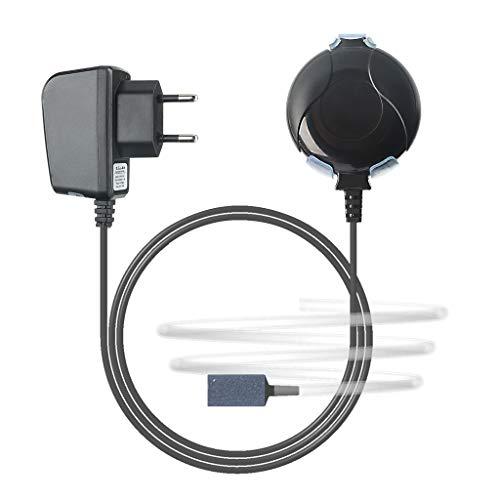 boxtech Sauerstoffpumpe Mini Leise Aquarium Oxygen Luftpumpe mit Air Stone und Silikonschlauch für Fischbecken und Die Nanoaquarien (schwarz)