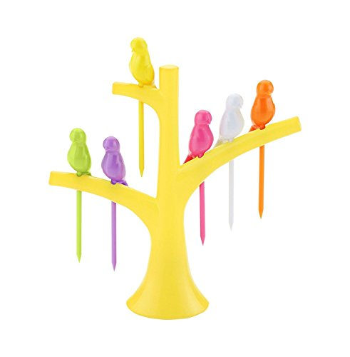 Botad Plastic Fruit Fork Set 6-Pieces with stand (Multi Color).  available at amazon for Rs.159