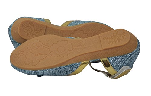 Frauen bunte glänzende Buckled Ballerina Comfort flache Schuhe Blau