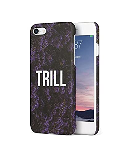 Trill Dark Purple Wild Flower Pattern Durable Hard Plastic Snap On Phone Case Cover Shell For iPhone 7 Coque Housse Etui