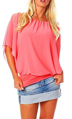 Damen Bluse im Fledermaus Look | Tunika mit Rundhals und breitem Bund | Blusenshirt Kurzarm | Elegant - Shirt 6296 (Coral)