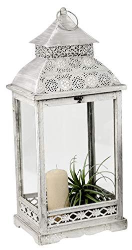 dekojohnson Orientalische Deko-Laterne Holz-Laterne Vintage Antik Grau/Weiß Rustikal Retro Lampe Metalldach 69x29x23cm