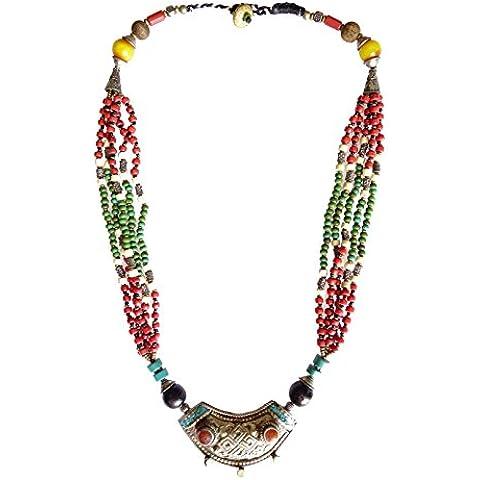 Collana di ambra, turchese e CORALLO TIBETANA PER LE DONNE BELLE A MANO collana moda da argento TIBETANO - Sterling Silver Turquoise Coral