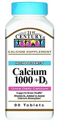 21st Century Health Care, Kalzium 1000 D, D3 x90tabs - Calcium Vitamin D3