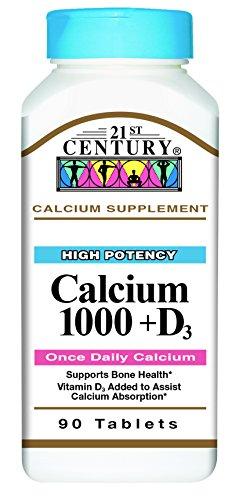 21st Century Health Care, Kalzium 1000 D, D3 x90tabs - Calcium Vitamin D3 (21st Century Calcium)