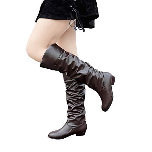 OSYARD Damen Langschaftstiefel Kunstleder Niedriger Absatz Biker Boots Schneestiefel, Frauen Kniehohe Stiefel Einfarbig Flache Lederstiefel Slip-On Stiefel Party Schuhe (260/43, Kaffee)