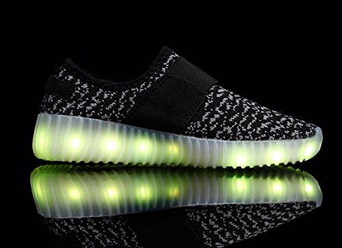 Santiro Kinder USB Aufladen LED leuchtend Turnschuhe Sneaker Schwarz 1