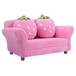COSTWAY Kindersessel Sessel Sofa Kindercouch Babysessel Kindersofa Kindermöbel 90x54,8x48cm Korallen-Samt mit 2 Kissen (Rosa)