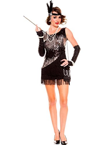 GGTBOUTIQUE Frauen-reizvolle Sequin Sparkly Fearless Flapper Kostüm (Medium)