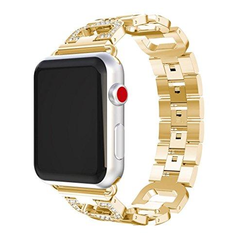 Galleria fotografica Hkfv unico di alta classe splendido design Apple iWatch Band Wristband in acciaio inossidabile iWatch TPU di alta qualità + pellicola protettiva per Apple Watch 38mm 42mm 1/2/3, 42mm Gold