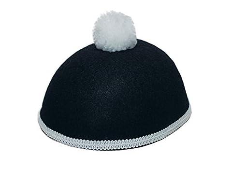 Karneval Klamotten Kostüm Hut Pierrot schwarz mit Pompon weiß Zubehör Fasching Karneval