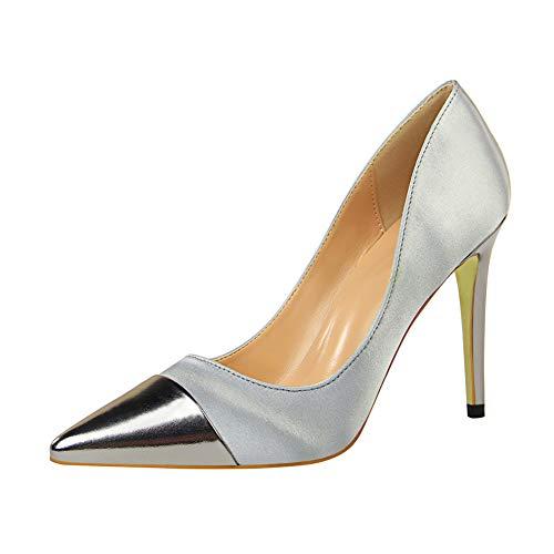 Lxmhz Frauen Pointed Toe High Heel Ankle Strap Satin Dress Pumps Evening Prom Wedding Schuhe geeignet für Büros, Arbeit, Bankette, Partys, Clubs,2,US8/EU39/UK6 Satin Ankle Strap High Heel