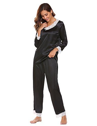 ADOME Damen Lang Schlafanzug Satin Pyjamas Langarm Zweiteiliger Spitze V-Asuschnitt Schwarz M
