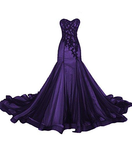 O.D.W Frauen Meerjungfrau Spitze Vintage Brautmode Ballkleider Gotisch Hochzeitskleider...