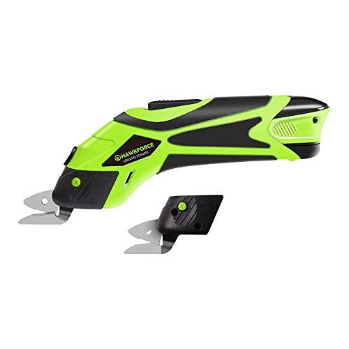 Hawkforce 4V Elektrische Schere Lithium-Ionen-Akku Akku-Schere Box Cutter Schere Schneidwerkzeug mit Sicherheitsschalter und 2 PCS-Schneidklingen zum Schneiden von Stoff und Leder - Cutter-taste Box
