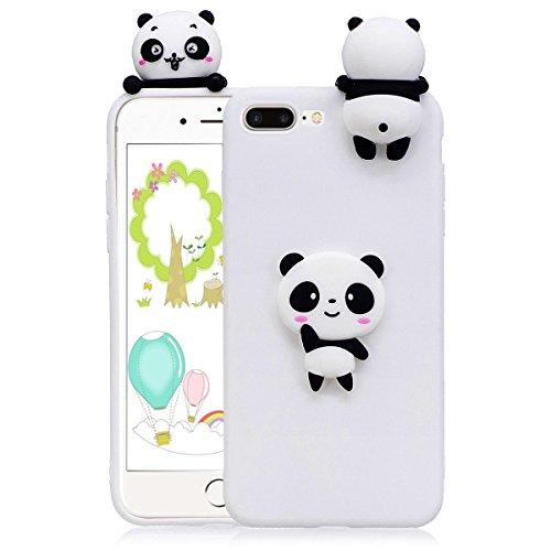 Cover iphone 7 plus Custodia iphone 8 plus Silicone 3D Cartoon Leton Morbido TPU Gel Case per Apple iphone 7 plus / 8 (5.5 pollici) Ultra Sottile Flessibile Satinato Gomma Caso Anti Graffio Antiurto P Panda Bianca