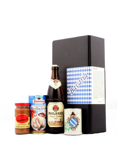 Typisch bayrisch - Bayern & München Spezialitäten Geschenk (Bier, Weißwurst, Senf & Edelweiss)