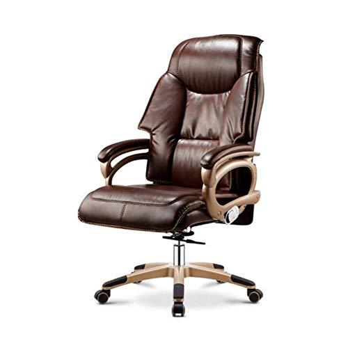 FENGFAN Stühle Leder Computer Executive Office, modernes ergonomisches Design, einstellbare Sitzhöhe, Neigungsmechanismus, 360 Grad-Schwenker (Farbe : Braun) -