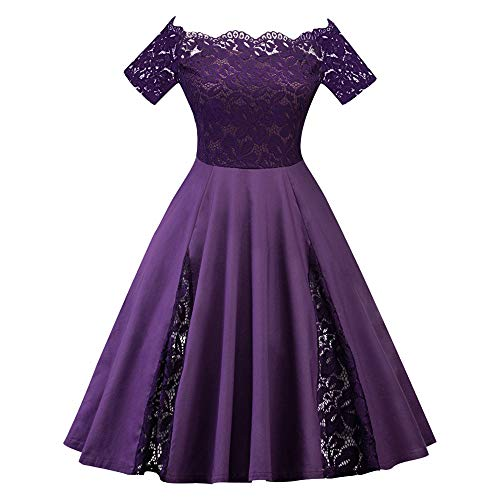 Cocktailkleid Retro Spitzen Schwingen Rockabilly Kleid Brautjungfernkleid Abendkleid ()