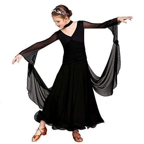 Q-JIU Kinder Ballsaal Tanzkleid Training Tüll Milch Seide Float Langärmeligen Natürlichen Kleid,Black,XXL - Milch Seide