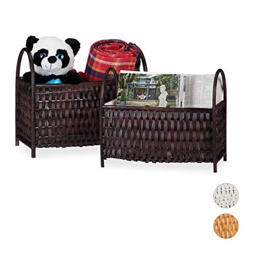 Relaxdays Aufbewahrungskörbe 2er Set, Allzweckkörbe, Zeitungsständer, Bambus Holz, in Handarbeit geflochten, Schokobraun, 10 Liter / 20 Liter