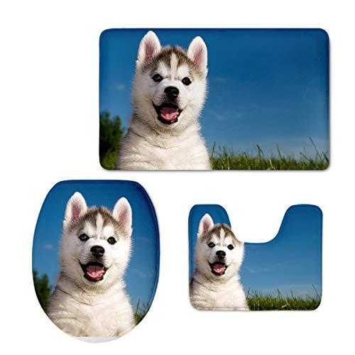 NINESH 3D Hund Husky Print Bad Carpet rutschfeste Tier Stil wohnkultur zubehör waschraum teppiche Set 3 stücke waschbar teppiche, h3991cp,