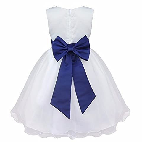 iEFiEL Flower Girls' Dresses Tulle Wedding Bridesmaid Pageant Christening Dress Navy Blue 7-8 Years
