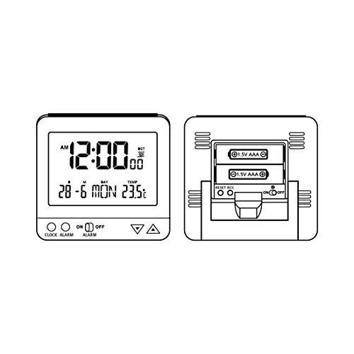 Hama Funk Wecker RC550 – sensorgesteuerte Nachtlichtfunktion, Schlummerfunktion, Temperatur- und Datumsanzeige - 7