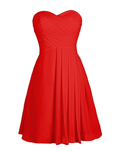 Eudolah Damen Abendkleider Partykleider Bunte Knielang Herz-Ausschnitt strapless Chiffon Rot