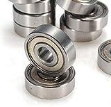 Hanvi 10pcs 7x22x7mm Shielded Miniature Metal Sealed Ball Bearing 627-ZZ