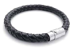 Bracelet Infini Cordon Noir - Argenté