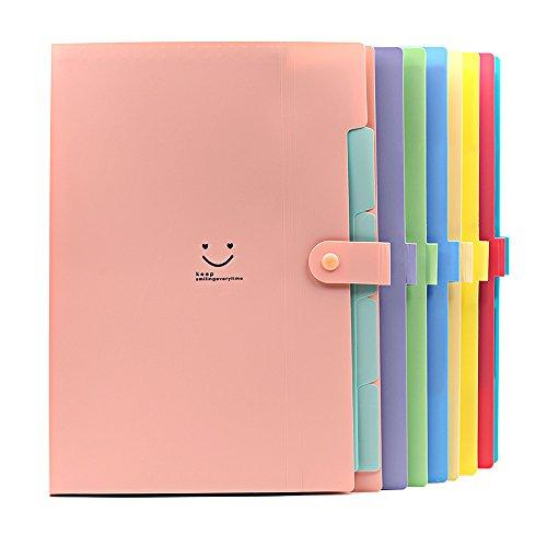 Folder Zhi Jin de 5bolsillos y pestañas Candy tamaño A4carta, carpeta clasificadora estilo acordeón con clip de botón, color rosa