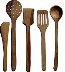Kitchen Delli Wooden Multipurpose Serving and Cooking Non-Stick Spoon (Brown) - Set Of 5
