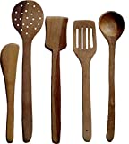 #2: Kitchen Delli Wooden Multipurpose Serving and Cooking Non-Stick Spoon (Brown) - Set Of 5