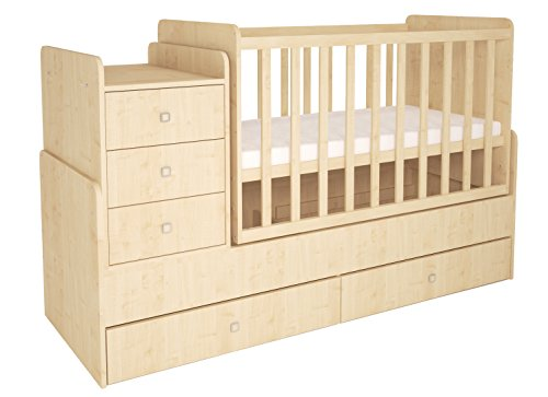Polini Kids Kombi-Kinderbett Simple 1100 mit Kommode Natur, 1227.30
