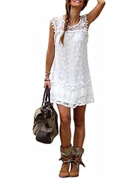 Sommer weisse Minikleid Frauen Spitze Kleid Beilaeufiges Sleeveless Partei Kleid