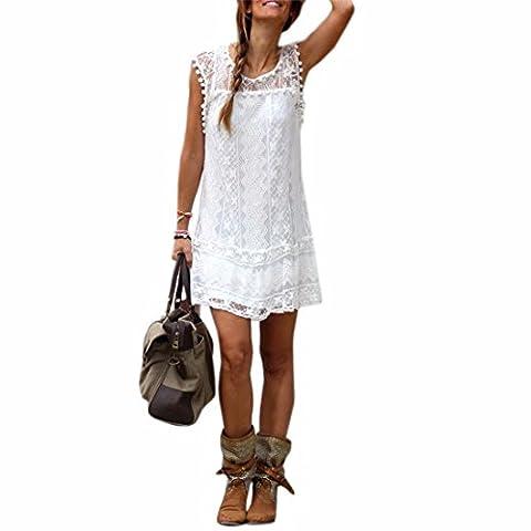 Sommer weisse Minikleid Frauen Spitze Kleid Beilaeufiges Sleeveless Partei Kleid, M, Farbe: Weiß (Jeans Kleid)