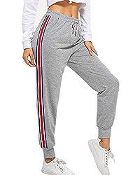 BUDERMMY Damen Jogginghose Sporthose Freizeit Streifen Hose Baumwolle Elastischer Bund Traininghose mit Taschen (Grau-S)