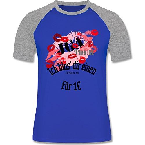 JGA Junggesellenabschied - JGA Tour - Ich blas dir einen Luftballon auf - zweifarbiges Baseballshirt für Männer Royalblau/Grau meliert
